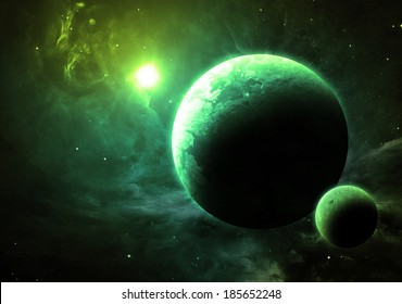 Green Planet and Moon - Elements of this image furnished by NASA