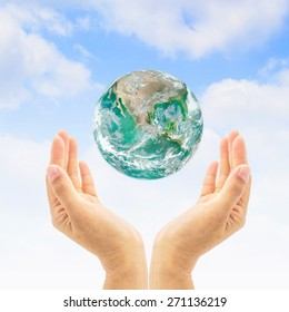 Green planet  for saving environment and ozone layer concept. Elements of this image furnished by NASA
