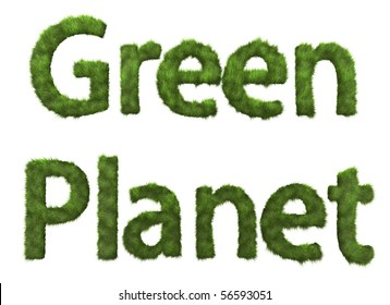 Green Planet sign from grass