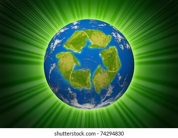 Green planet symbol represented by the environmental concept of a recycle icon shaped continent on an earth sphere model.