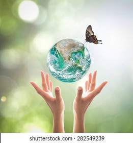 Green planet for World environment day concept: Elements of this image furnished by NASA