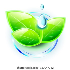Green plant with blue drops on abstract water ripples