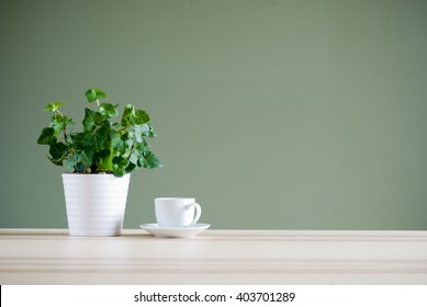 green plant and coffee cup on desk