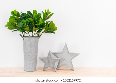 Green plant in a metal pot and concrete stars on a wooden shelf. Simple and natural home decor.