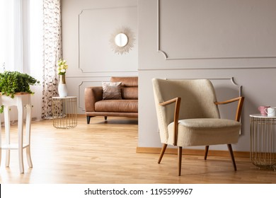 Green plant on the table, vintage armchair , vase with flowers and comfortable leather couch with pillow in spacious living room of modern apartment