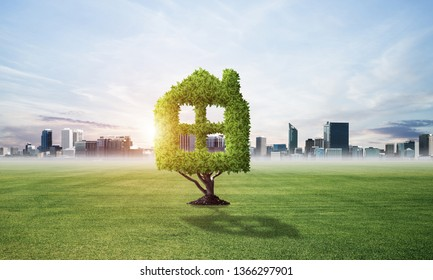 Green plant in shape of house grows at green field. Nature landscape with summer meadow and blue sky. Green and eco friendly building technology and architecture design. Investment in real estate.