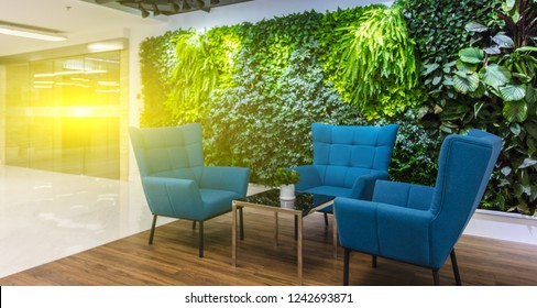 Green plants in large corporate offices, good environment and improved work efficiency