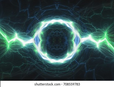 Green plasma lightning, abstract electrical background