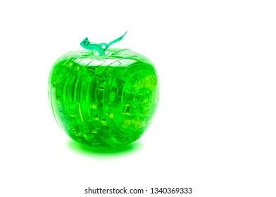 Green plastic apple-puzzle