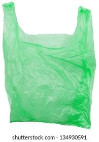 Green plastic bag empty. Object is isolated on white background without shadows.