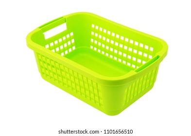 Green plastic basket, isolated on white background