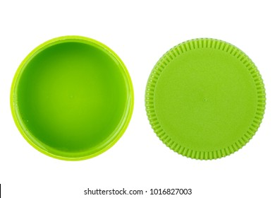 green plastic bottle cap on white background, isolated
