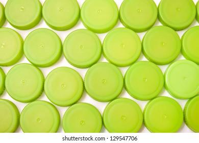 Green plastic bottle caps