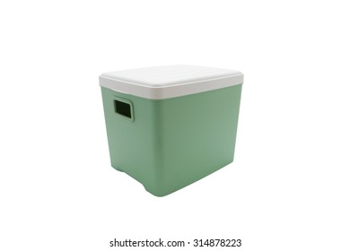 Green plastic box isolated on white background