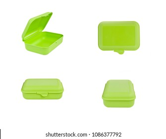 Green plastic box package isolated on white background. Front, top, side view