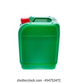 Green plastic canister, container; isolated on white background. Angle from up