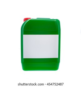 Green plastic canister, container with label; your text here; isolated on white background