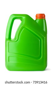 Green plastic canister for household chemicals. Isolated on white.