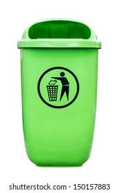 Green plastic dust bin isolated over white background.