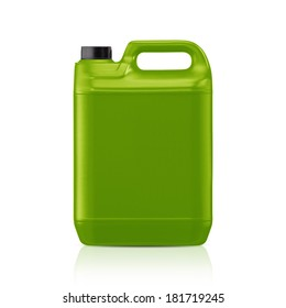 Green plastic gallon, jerry can  isolated on a white background.  (with clipping work path)