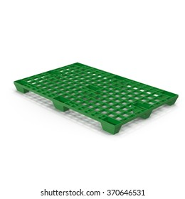 Green Plastic Pallet on White Background