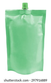 Green plastic pouch package with batcher isolated on white background
