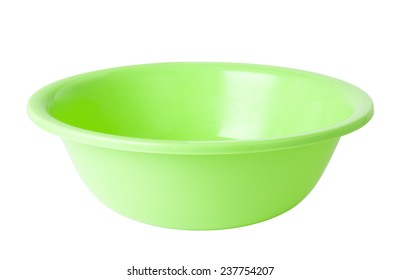 green plastic wash bowl isolated on white
