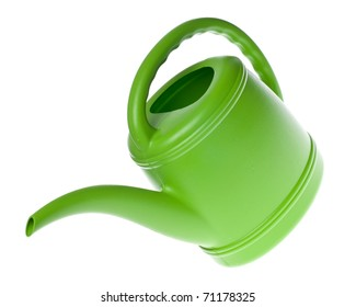 Green Plastic Watering Can Isolated on White with a Clipping Path.
