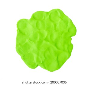 Green  plasticine texture  on white background