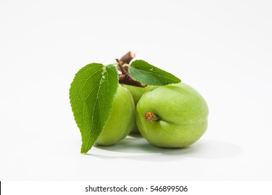Green plum fruite with leaf on a whtie