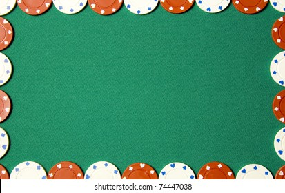 Green poker background with gambling chips all around