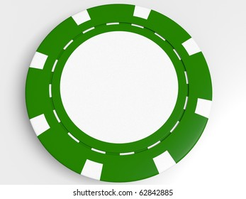 green poker chip isolated on the white