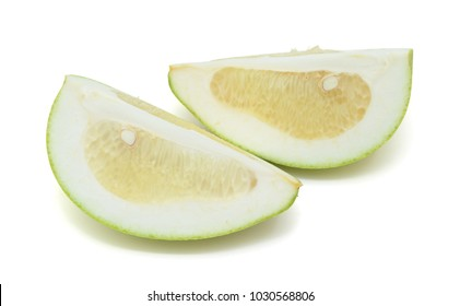 Green pomelo citrus fruit isolated on white background