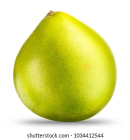 Green pomelo citrus fruit isolated on white background. With clipping path.