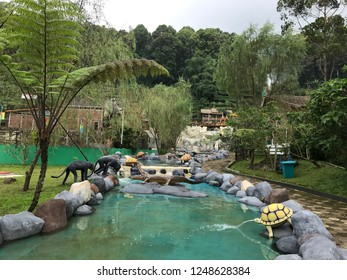 Green pool with many animal statues in a garden