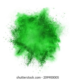 Green powder explosion isolated on white background