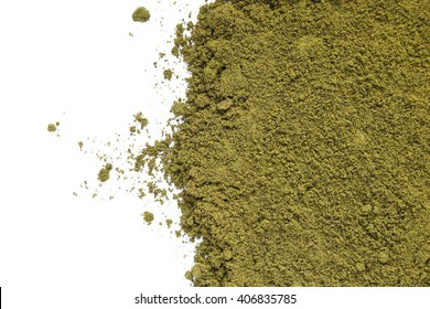 Green powder from hemp for health, source of chlorophyll, vitamins and minerals. Not a narcotic drug.