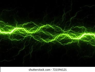 Green power, abstract lightning