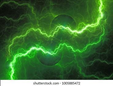 Green power, abstract lightning bolt