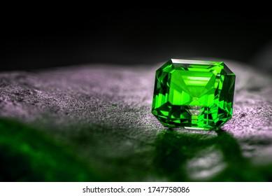 Green Precious Gemstone. Emerald Stone