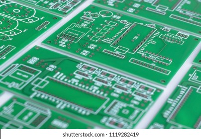 Green printed circuit boards.  Electronic computer hardware technology.