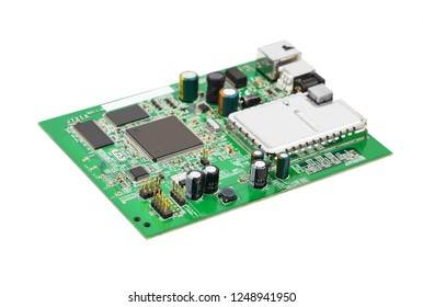 Green printed modem motherboard with microcircuit on white