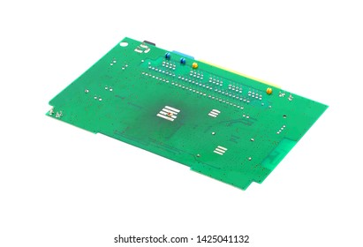 Green printed router motherboard with microcircuit on white