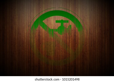 green prohibition stop symbol sign painted on vertical glossy wood planks texture background