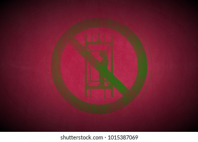 green prohibition stop symbol sign painted on pink leather texture background