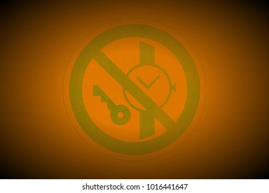 green prohibition stop symbol sign painted on apricot leather texture background