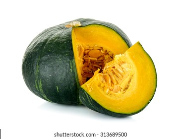 Green pumpkin isolated on the white background .