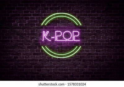 A green and purple neon light sign that reads: K-POP