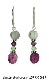 Green and purple quartz beads and grean and purple bicone crystal beads with silver finding make up these pierce ear dangle earrings. Shown isolated on a white background.