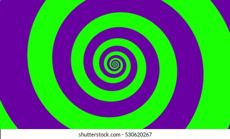 Green & Purple spiral Optical illusion illustration, abstract background graphics asset, Hypnotising whirlpool effect